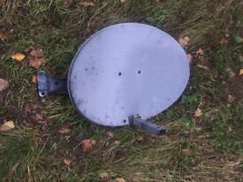 Satelite dish with a bracket