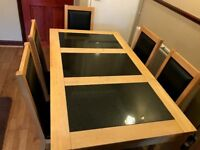Solid Pine Wood & Granite 6 Chairs Dining Table