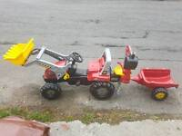 Rolly Junior Tractor with Front Loader, Rear Excavator and Trailer