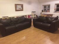 2 Dark Brown Leather Sofas. One 2 seater and one three seater in very good condition.