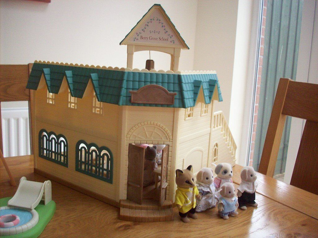 sylvanian school house,playpark and two families