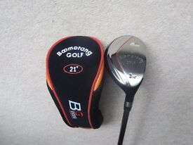 "Brand new Hybrid golf club by ""Boomerang Golf"". No3 loft 18 degrees, regular flex."