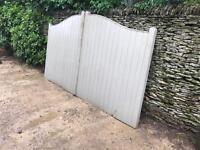 Driveway gates, wooden, 'swan neck' style