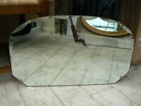 mirror glass arts and crafts style wood-backed