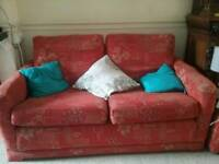 Small two seater sofa with matching pouffe, collection only