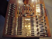 82 pieces of vintage Siamese bronze and teak cutlery