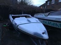 Project fletcher boat. In need of fitting out and painting. No engine. But comes with trailer