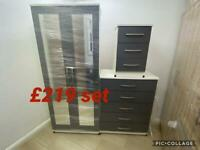 WARDROBE, CHEST OF DRAWERS AND BEDSIDE CABINET. DELIVERY AVAILABLE.