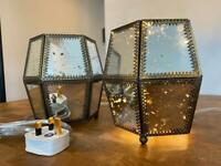 Pair of mirrored glass table or bedside lamps