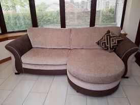 "Fabric / leather 3-4 seater lounger sofa (older version of the current DFS ""Croft"" sofa)"
