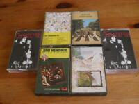 5 rock music cassettes beatles,doors,zeppelin,hendrix.