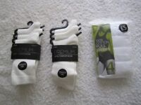 4-pack white M&S ladies cotton briefs UK size 10 and 6-pairs BHS white Premium socks sizes 4-8.