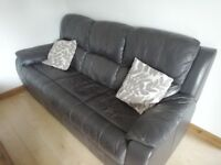 DFS Brown leather suite. 3 seater settee and 2 chairs, one recliner. VGC