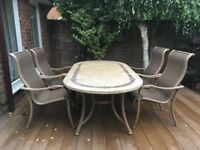 Stone tabletop garden dining table & 4 chairs