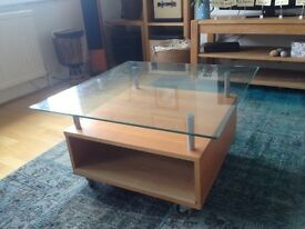 Glass and wood living room table