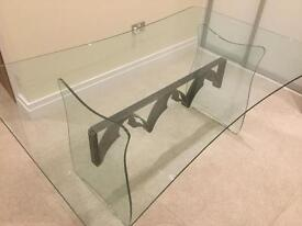 Designer Plate-Glass/Iron Dining Table