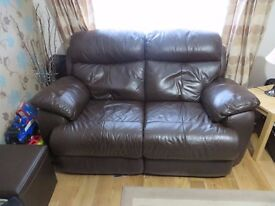 Two Seater Leather Sofa with Electric Recliners