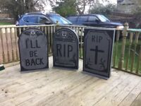 Halloween Gravestones . Made for theatre , professionally painted .