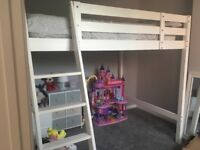 Ikea White Wooden Double Loft Bed / High Sleeper WITH Mattress