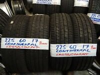 matching set of 225 60 17 CONTINENTAL CROSSSPORT TYRES AS NEW £140 sup &fitd opn 7 days 5pm MORE AV