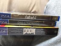 Ps4 games ( sealed) doom, dishonored 2, fallout 4. PlayStation 4.
