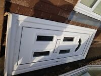 Used UPVC double glazed front door, white