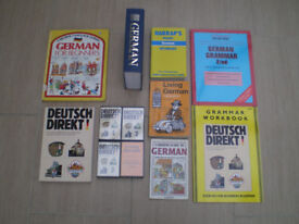 Various German Language learning 7 books and 4 cassettes