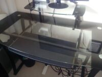 Glass desk with keyboard tray and Computer screen shelf