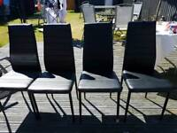 4 BLACK leather dinning chairs