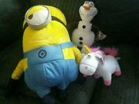 Minions and frozen stuffed cuddly toys