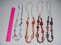 COSTUME JEWELLERY FUN CONTRASTING 4 NECKLACES SHAPED BEADS COLLECTION