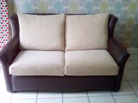 double sofa bed leather and cream fabric txt 07465655203