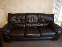Leather Settee and Arm Chair