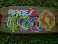 Vintage 1970s Logan Earthski Oak Skateboard with alley cat wheels