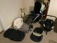 Silver cross complete pram and car seat travelling system