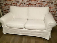 Lovely comfy 2 seater white sofa, washable covers, clean