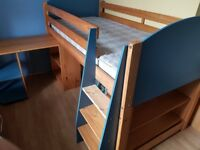 Bunk bed, mattress, desk, drawer optional.