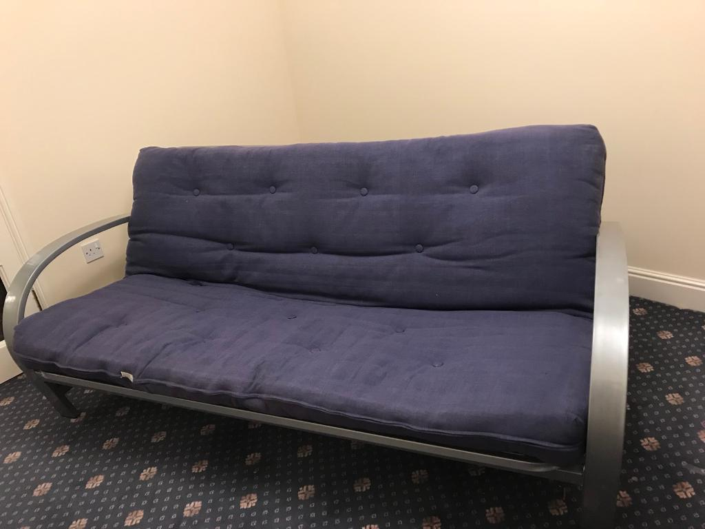 Metal Frame Double Futon Sofa Bed With Mattress In Blue Used But Good Condition