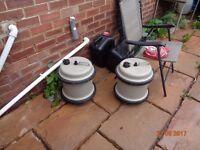2 x 29L Aqua roll caravan water barrels & 2 waste containers