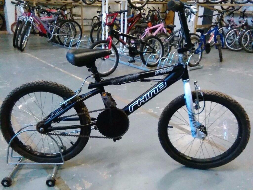 RHINO FREEFALL BMX BIKE 20 INCH WHEELS 360 GYRO BRAKES BLACK/BLUE GOOD CONDITION CHRISTMAS?