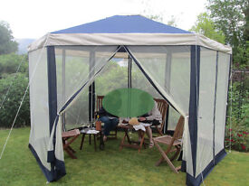 Hexagonal Gazebo with mesh side panels