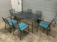 FREE DELIVERY BLACK METAL GARDEN TABLE & 6 CHAIRS FURNITURE SET GREAT CONDITION