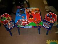 Paw patrol wooden table and chairs