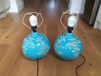 Beautiful Pair of Turquoise Teal Blue Ceramic Lamps