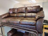 Dark brown leather 3 seat sofa & armchair suite