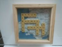Personalized to your family scrabble names box frame and map background