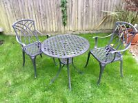 Garden Table and Chairs - Cast Aluminium grey - set with table and two chairs