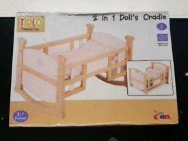2 in 1 Dolls Cradle, Tidlo John Crane toys - New and Sealed