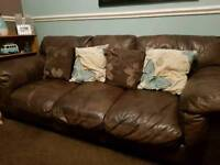 Leather 3 Seater Sofa Settee Couch