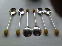 6 Art Deco Vintage Coffee Bean Teaspoons